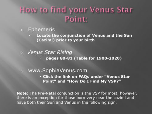 How to find your Venus Star Point