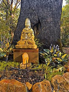 Buddha in garden - Venus First Friday